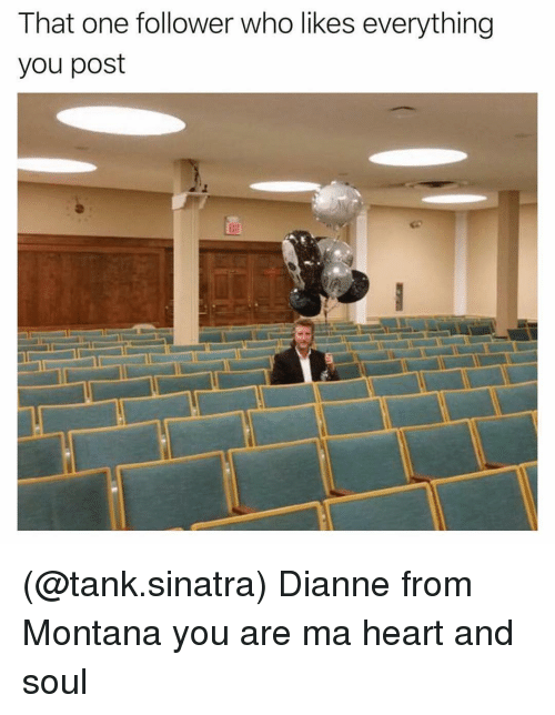 Heart, Montana, and Dank Memes: That one follower who likes everything  you post (@tank.sinatra) Dianne from Montana you are ma heart and soul