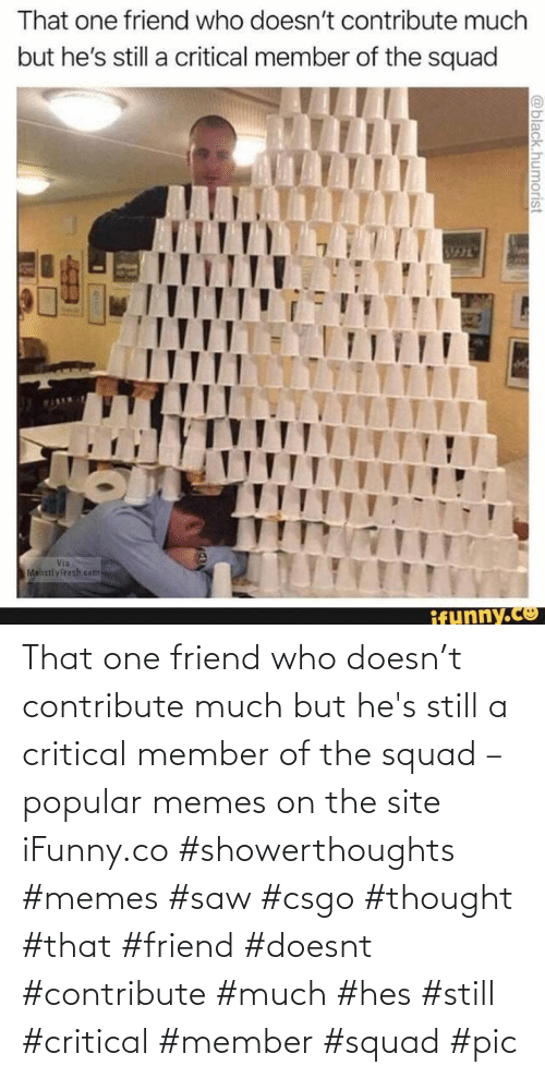 Doesnt: That one friend who doesn't contribute much but he's still a critical member of the squad – popular memes on the site iFunny.co #showerthoughts #memes #saw #csgo #thought #that #friend #doesnt #contribute #much #hes #still #critical #member #squad #pic