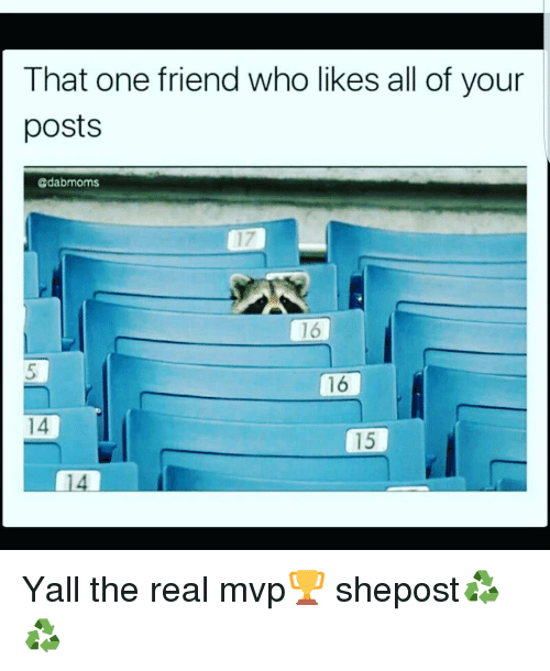 Memes, 🤖, and Mvp: That one friend who likes all of your  posts  Cdabmoms  16  14 Yall the real mvp🏆 shepost♻♻