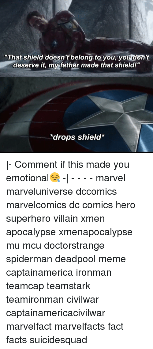 "Facts, Meme, and Memes: ""That shield doesn't belong to you, you don't  deserve it, my father made that shield!""  *drops shield* 