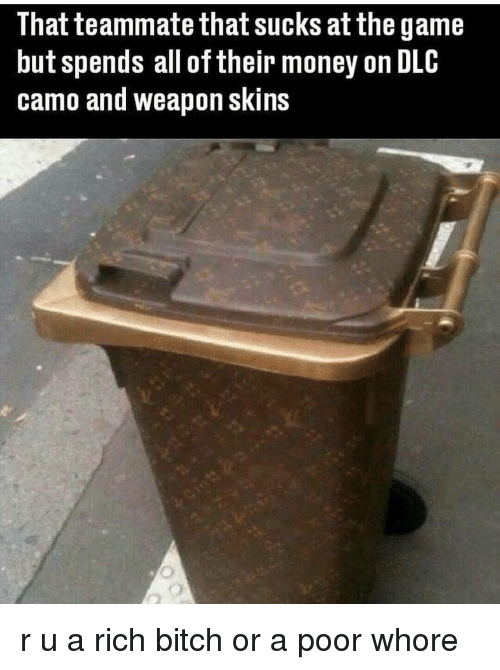Memes, The Game, and 🤖: That teammate that sucks at the game  but spends all of their money on DLC  camo and weapon skins r u a rich bitch or a poor whore