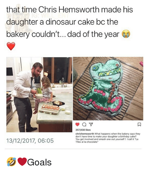 "Birthday, Chris Hemsworth, and Dad: that time Chris Hemsworth made his  daughter a dinosaur cake bc the  bakery couldn't... dad of the year  257,938 likes  chrishemsworth What happens when the bakery says they  don't have time to make your daughter a birthday cake?  You get involved and smash one out yourself! I call it ""La  TRex al la chocolate""  13/12/2017, 06:05 🤣❤️Goals"