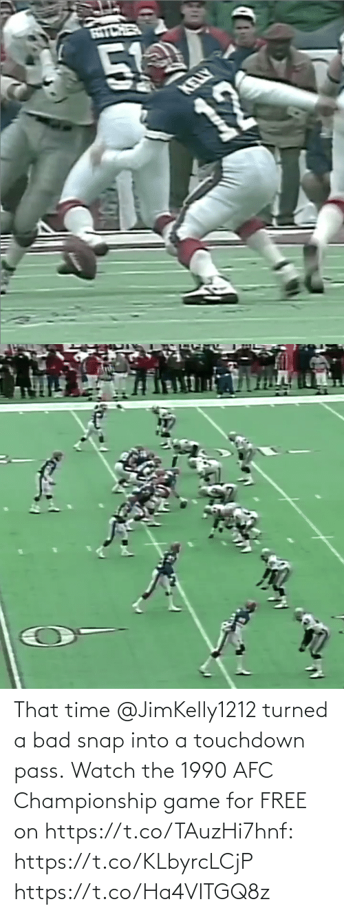 pass: That time @JimKelly1212 turned a bad snap into a touchdown pass.  Watch the 1990 AFC Championship game for FREE on https://t.co/TAuzHi7hnf: https://t.co/KLbyrcLCjP https://t.co/Ha4VITGQ8z