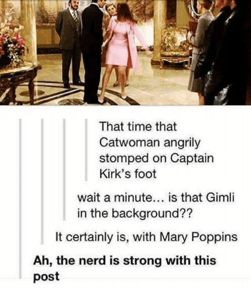 Memes, Nerd, and Mary Poppins: That time that  Catwoman angrily  stomped on Captain  Kirk's foot  wait a minute  is that Gimli  in the background??  It certainly is, with Mary Poppins  Ah, the nerd is strong with this  post