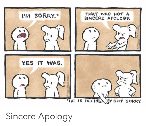 M Sorry: THAT WAS NOT A  SINCERE APOLOGY  'M SORRY.*  YES IT WAS.  *HE 1S DEFIN  Y NOT SORRY  @TOONHOLECHRIS  TOONHOLE.com Sincere Apology