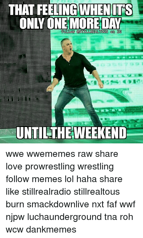 faf: THAT WHEN ITS  MORE DAY  follow STILL REALTOUS on IG  UNTIL THEWEEKEND wwe wwememes raw share love prowrestling wrestling follow memes lol haha share like stillrealradio stillrealtous burn smackdownlive nxt faf wwf njpw luchaunderground tna roh wcw dankmemes
