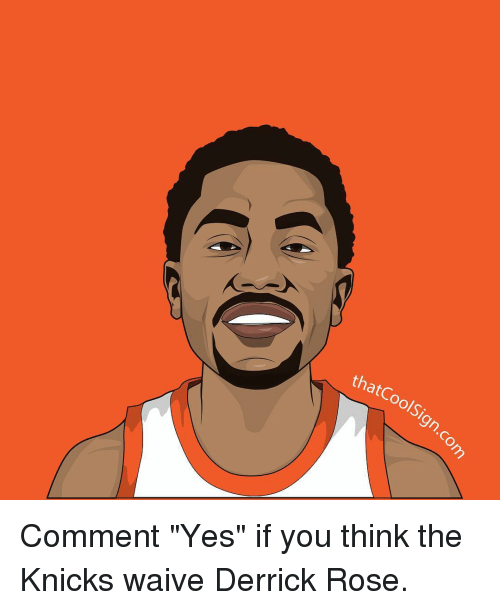"""Derrick Rose, Memes, and 🤖: thatCoolSi  that Oolsign-C Comment """"Yes"""" if you think the Knicks waive Derrick Rose."""