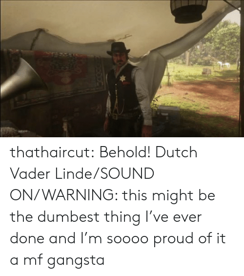 Soooo: thathaircut:  Behold! Dutch Vader Linde/SOUND ON/WARNING: this might be the dumbest thing I've ever done and I'm soooo proud of it  a mf gangsta
