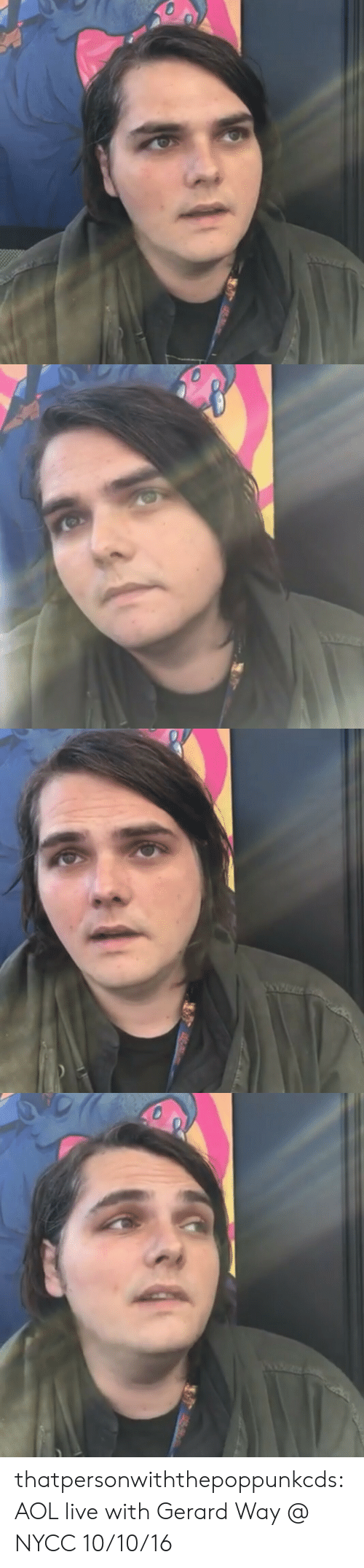 Gerard Way: thatpersonwiththepoppunkcds:  AOL live with Gerard Way @ NYCC 10/10/16