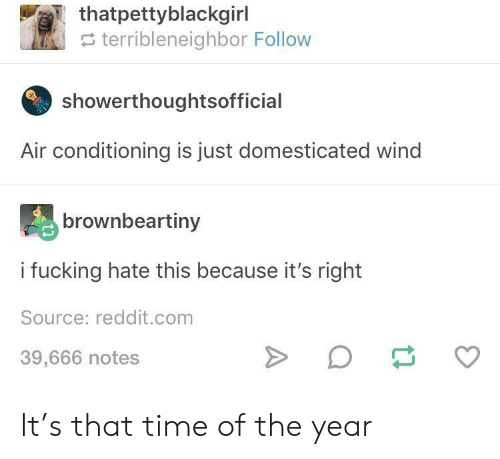 domesticated: thatpettyblackgirl  e terribleneighbor Follow  showerthoughtsofficial  Air conditioning is just domesticated wind  brownbeartiny  i fucking hate this because it's right  Source: reddit.com  39,666 notes It's that time of the year