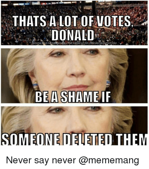 Memes, 🤖, and Lots: THATS A LOT OF VOTES  DONALD  BE A SHAME  IF  SOMEONE DELETED THEM Never say never @mememang