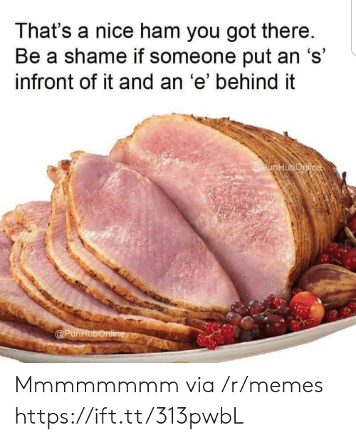 Thats A Nice: That's a nice ham you got there.  Be a shame if someone put an 's'  infront of it and an 'e' behind it  @PunHubonline  @PunHubonline Mmmmmmmm via /r/memes https://ift.tt/313pwbL