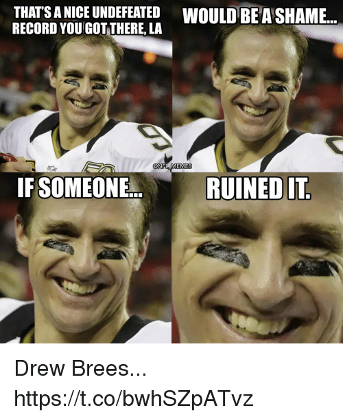 Thats A Nice: THATS A NICE UNDEFEATED WOULD BE A SHAME...  RECORD YOU GOT THERE, LA  @NFL MEMES  IF SOMEONE.  RUINED IT Drew Brees... https://t.co/bwhSZpATvz