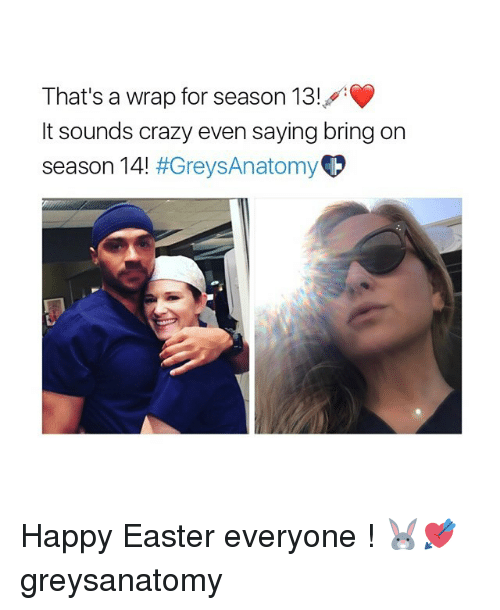 Crazy, Easter, and Memes: That's a wrap for season 13!  It sounds crazy even saying bring on  season 14!  Happy Easter everyone ! 🐰💘 greysanatomy