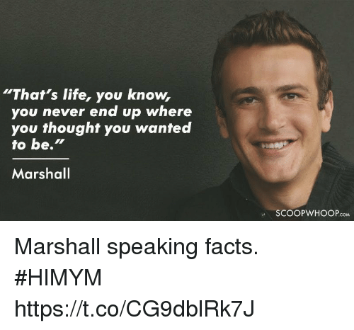 "Facts, Life, and Memes: ""That's life, you know,  you never end up where  you thought you wanted  to be.""  Marshal  SCOOPWHOOPcoM Marshall speaking facts. #HIMYM https://t.co/CG9dblRk7J"