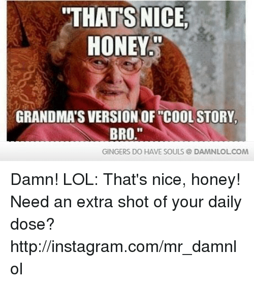 """gingers do have souls: """"THATS NICE  HONEY  GRANDMAS VERSION OF COOL STORY.  BRO  GINGERS DO HAVE SOULS DAMNLOLCOM Damn! LOL: That's nice, honey!  Need an extra shot of your daily dose? http://instagram.com/mr_damnlol"""