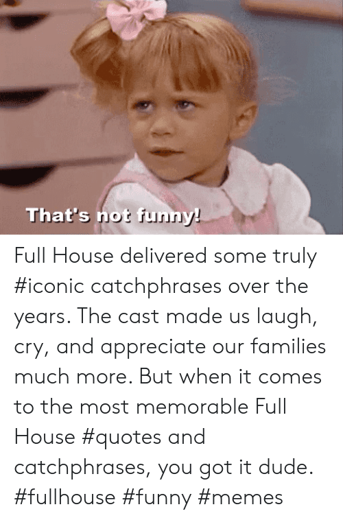funn: That's not funn Full House delivered some truly #iconic catchphrases over the years. The cast made us laugh, cry, and appreciate our families much more. But when it comes to the most memorable Full House #quotes and catchphrases, you got it dude. #fullhouse #funny #memes