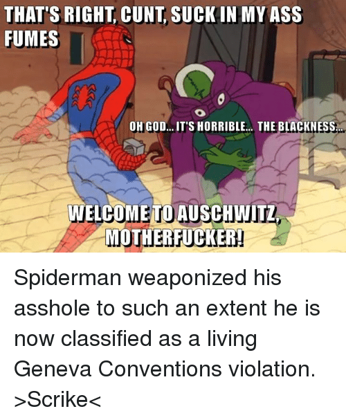 Ass, God, and Memes: THAT'S RIGHT CUNT SUCKIN MY ASS  FUMES  OH GOD... IT'S HORRIBLE... THE BLACKNESS  WELCOME TO AUSCHWITZ  MOTHER TUCKER! Spiderman weaponized his asshole to such an extent he is now classified as a living Geneva Conventions violation.  >Scrike<