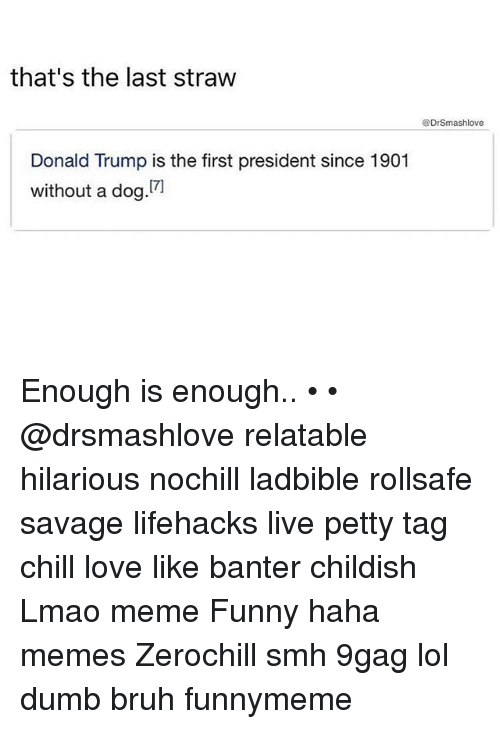 9gag, Bruh, and Chill: that's the last straw  @DrSmashlove  Donald Trump is the first president since 1901  without a dog Enough is enough.. • • @drsmashlove relatable hilarious nochill ladbible rollsafe savage lifehacks live petty tag chill love like banter childish Lmao meme Funny haha memes Zerochill smh 9gag lol dumb bruh funnymeme