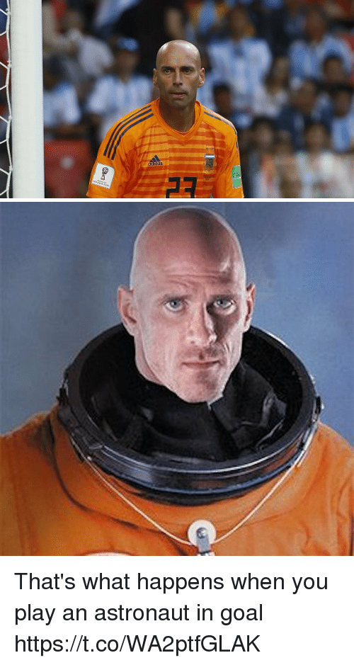 Memes, Goal, and 🤖: That's what happens when you play an astronaut in goal https://t.co/WA2ptfGLAK