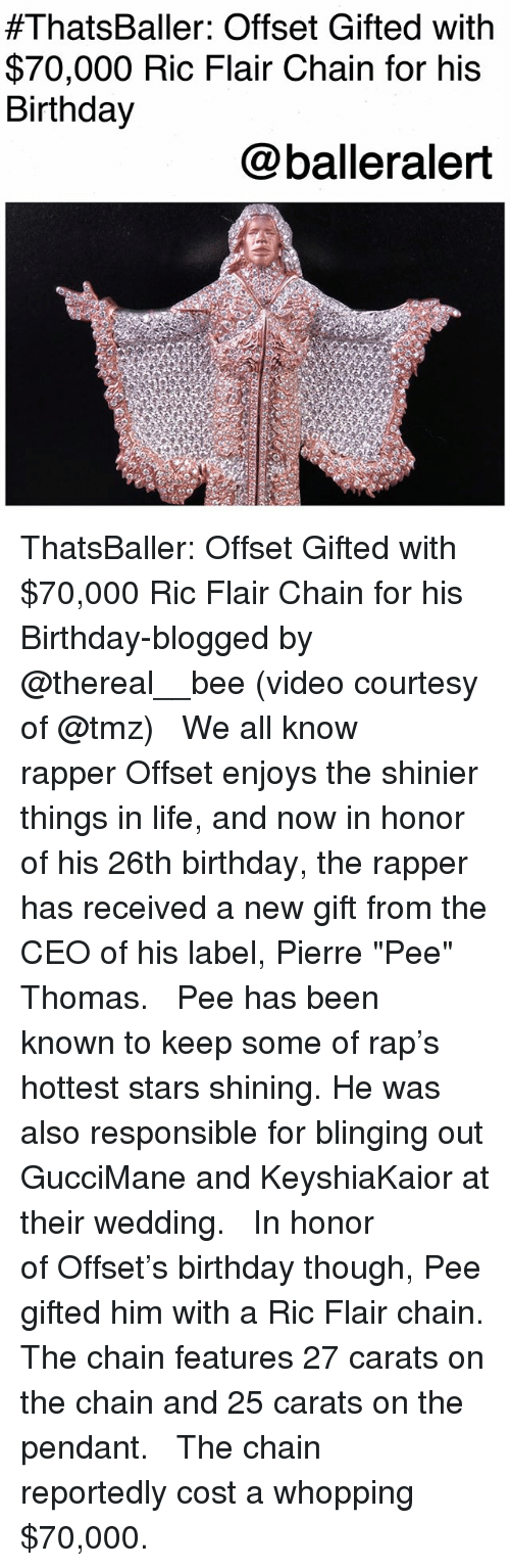 """Ric Flair:  #ThatsBaller: Offset Gifted with  $70,000 Ric Flair Chain for his  Birthday  @balleralert ThatsBaller: Offset Gifted with $70,000 Ric Flair Chain for his Birthday-blogged by @thereal__bee (video courtesy of @tmz) ⠀⠀⠀⠀⠀⠀⠀⠀⠀ ⠀⠀ We all know rapper Offset enjoys the shinier things in life, and now in honor of his 26th birthday, the rapper has received a new gift from the CEO of his label, Pierre """"Pee"""" Thomas. ⠀⠀⠀⠀⠀⠀⠀⠀⠀ ⠀⠀ Pee has been known to keep some of rap's hottest stars shining. He was also responsible for blinging out GucciMane and KeyshiaKaior at their wedding. ⠀⠀⠀⠀⠀⠀⠀⠀⠀ ⠀⠀ In honor of Offset's birthday though, Pee gifted him with a Ric Flair chain. The chain features 27 carats on the chain and 25 carats on the pendant. ⠀⠀⠀⠀⠀⠀⠀⠀⠀ ⠀⠀ The chain reportedly cost a whopping $70,000."""