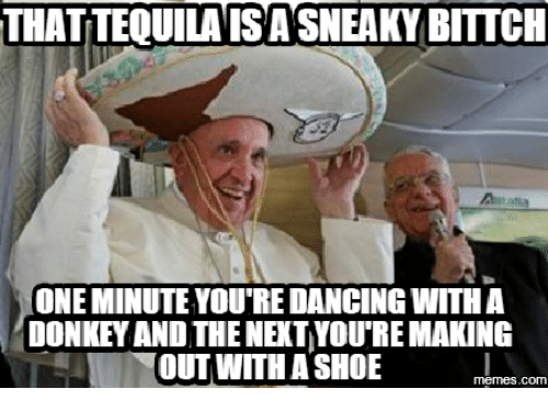 Sneaky Sneaky Meme: THATTEQUILAISASNEAKY BITTCH  ONEMINUTE YOURE DANCING WITH A  DONKEVAND THE NETVOUREMAKING  OUT WITH A SHOE  memes.COM
