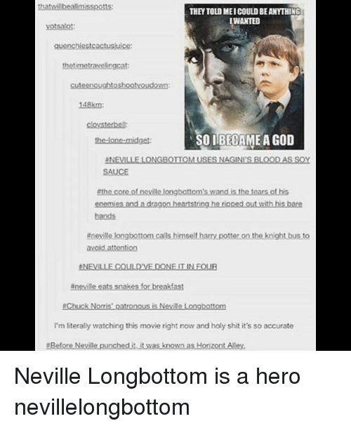 chucking: thatwillbeallmisspotts:  THEY TOLD MEI COULD BE ANYTHING  WANTED  votsalot  quenchiestcactusjuice:  thetimetravelingcat  cuteenoughtoshootyoudown:  148km  cloysterbell:  the-lone-midget  SOIBECAME A GOD  NEVILLE LONGBOTIOM USES NAGINI'S BLOODAS SOY  SAUCE  enemies and a dragon heartstring he rinped out with his bare  hands  #nevillelongbottomcalls himseltharrypotterontheknightbusto  台NEVILLE COULD'VE DONE IT IN FOUR  #nevilleets snakes for breakfast  #Chuck Norris' patronous is Neville Longbottom  I'm literally watching this movie right now and holy shit it's so accurate  #BeforeNevillepunchedi.itwas known asHorizontAlley. Neville Longbottom is a hero nevillelongbottom