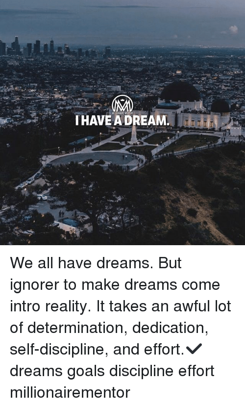 A Dream, Goals, and Memes: THAVE A DREAM We all have dreams. But ignorer to make dreams come intro reality. It takes an awful lot of determination, dedication, self-discipline, and effort.✔️ dreams goals discipline effort millionairementor