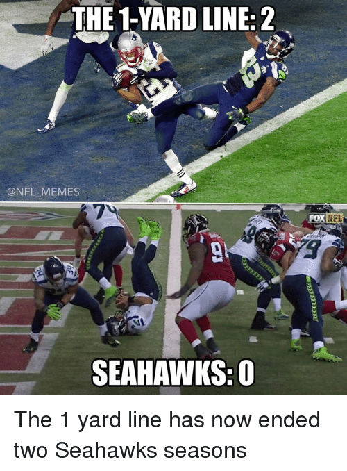 Football, Nfl, and Sports: THE 1 YARD LINE: 2  @NFL MEMES  SEAHAWKS: O  NFL  FOX The 1 yard line has now ended two Seahawks seasons