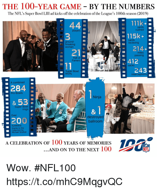 leagues: THE 100-YEAR GAME BY THE NUMBERS  The NFL's Super Bowl LIlII ad kicks off the celebration of the League's 100th season (2019)  111k  yards  rushed  players  -115k-  ground-  breaking  Women  yards  recieving  214+  : 21  miles  passing  Hall of  Famers  412  243  sacks  Super Bowl  MVPs  interceptions  A combined  284  53  200  Pro Bowls  Ninja  Super Bowl  rings  &1  Over  destroyed  ballroom  tuxedos  thanks to the  Collection by  Michael Strahan  A CELEBRATION OF 100 YEARS OF MEMORIES  AND ON TO THE NEXT IOO  竈 Wow. #NFL100 https://t.co/mhC9MqgvQC