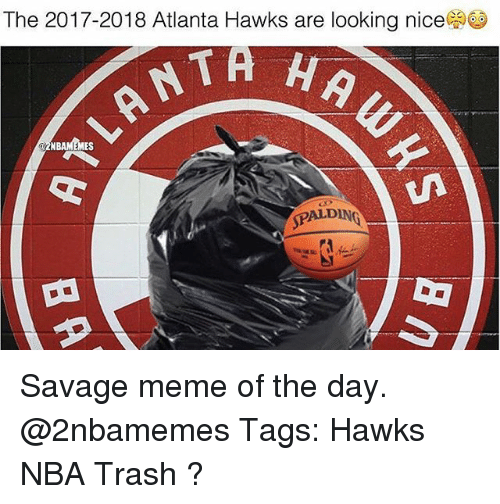 Atlanta Hawks, Meme, and Memes: The 2017-2018 Atlanta Hawks are looking nice  NBAMEMES  SPALDING Savage meme of the day. @2nbamemes Tags: Hawks NBA Trash ?