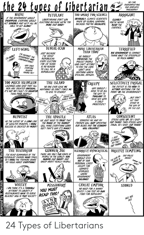 pundits: the 24 types  of bibertarian  NO FAIR  OVERSIMPLIFYING  OUR SIMPLISTIC  PHILOSOPHY  TO0 SMART FOR SCIENCE  0BVIOUSLY, CLIMATE SCIENTISTS  MADE UP GLOBAL WARMING  BECAUSE THEYRE SOCIALISTS  NAIVE  ARROGANT  PETULANT  IF THE GOVERNMENT WOULD  DISAPPEAR, EVERYONE WOULD  ACT SENSIBLY AND WED ALL BEELECTIONS BECAUSE WERE TO0  ABLE TO GET ALONG!  CLEARLY  YOU'VE NEVER  READ THE  EVIDENCE  LIBERTARIANS DON'T WIN  PURE AND GOOD!  DENIAL-ICAN  MORE LIBERTARIAN  THAN THOU  LEFT-WING  TERRIFIED  BIG GOVERNMENT IS COMING!  THANK GALTIVE STOCKPILED  SO MUCH AMMO!  JUST BECAUSE  VE VOTED  REPUBLICAN  EVERY ELECTION  FOR 20 YEARS  IS NO REASON  TO CALL ME A  REPUBLICAN!  M AGAINST THE  GOVERMENT AND  CORPORATIONS!  WE SHOULD  PRIVATIZE THE  POLICE! PEOPLE  WHO CANT AFFORD  TO PAY THE COPS  WON'T HAVE  ANYTHING WORTH  STEALING, ANYWAY  IM P  WHY DOES  EVERYONE  ALLAYS  IGNORE ME?  TOO MUCH HEINLEIN  THE ISLAND  SELECTIVELY FRUGAL  THE DEFICIT IS TOO HIGH TO  AFFORD ANYTHING FOR THE  CREEPY  LAZARUS LONG SAID THAT ALL  MEN ARE CREATED UNEQUAL  ITS NOT MY FAULT IM SMARTER  THAN POOR PEOPLE!  NO ONE EVER GAVE ME  ANYTHING! SO DON'T FORCE ME  TO GIVE TO OTHERS!  WHY SHOULD  HAVE TO GO ALLPOOR! OR THE ENVIRONMENT!  THE WAY TO  THAILAND TO  HAVE SEX WITH  A CHILD  PROSTITUTE?  DRIVES ON  PUBLIC ROADS  BUT DONT  LET THAT  STAND IN  THE WAY OF  My TAX CUT  PUBLIC  SCHOOL GRAD  CHECK  CONSISTENT  STOCKS WERE UP, SO I SAID:  cUT TAXES! THEN STOCKS WENT  DOUN, SO I SAID: CUT TAXES!  NEPOTIST  THE APOSTLE  ATLAS  SOMEDAY ME AND MY  FRIENDS WILL QUIT UPDATING  OUR BLOGS AND THE ECONOMY  WILL COLLAPSE  WE JUST NEED TO TRUST THAT  THE MAGIC OF THE MARKET  WILL MAKE EVERYTHING WORK  OUT! THAT'S WHY IT'S MAGIC!  AS THE LATEST OF A LONG LINE  OF WEALTHY PUNDITS, I KNOU  SUCCESS IS CREATED BY MERIT!  IuUST  STUBBED  MY TOE!  CUT TAXES!  THE HISTORIAN  GUNNER JOE  THERE ARE ONLY TWO KINDS OF  PEOPLE IN THE WORLD: GUN  OWNERS AND SHEEP! AND  SHEEP ARENT REALLY PEOPLE  BIZARRELY HYPOCRITICAL  B
