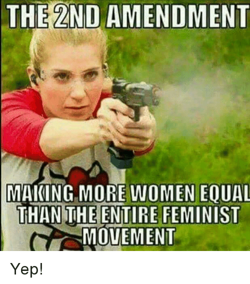 Memes, Women, and 2nd Amendment: THE 2ND AMENDMENT  MAKING MORE WOMEN EOUAL  THAN THE ENTIRE FEMINIST  MOVEMENT Yep!
