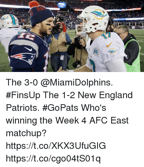 England, Memes, and New England Patriots: The 3-0 @MiamiDolphins. #FinsUp The 1-2 New England Patriots. #GoPats  Who's winning the Week 4 AFC East matchup? https://t.co/XKX3UfuGIG https://t.co/cgo04tS01q