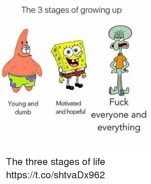 Dumb, Funny, and Growing Up: The 3 stages of growing up  Fuck  Young and  dumb  Motivated  and hopeful everyone and  everything The three stages of life https://t.co/shtvaDx962