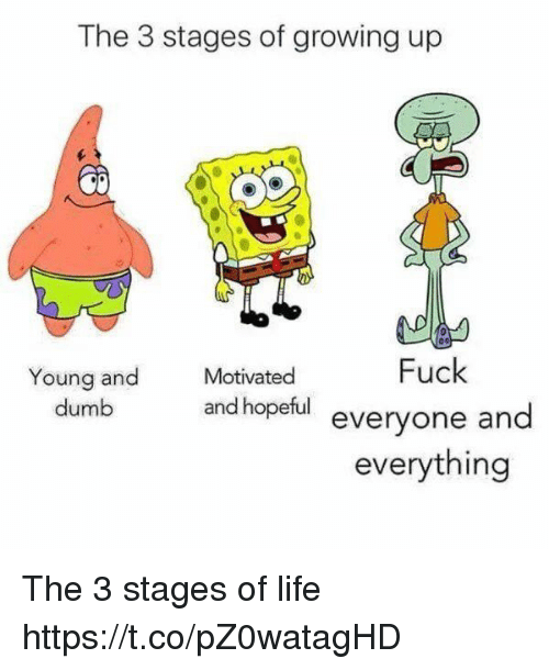 Dumb, Funny, and Growing Up: The 3 stages of growing up  Motivated  Fuck  Young and  dumb  and hopetul everyone and  everything The 3 stages of life https://t.co/pZ0watagHD