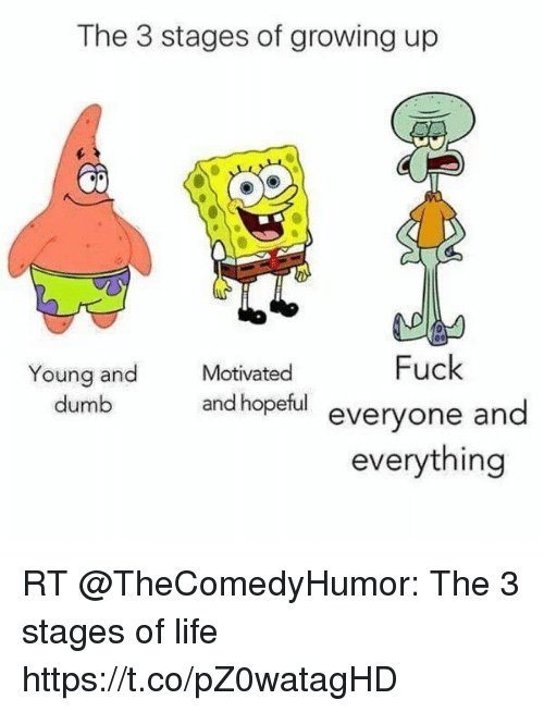 Dumb, Funny, and Growing Up: The 3 stages of growing up  Motivated  Fuck  Young and  dumb  and hopetul everyone and  everything RT @TheComedyHumor: The 3 stages of life https://t.co/pZ0watagHD
