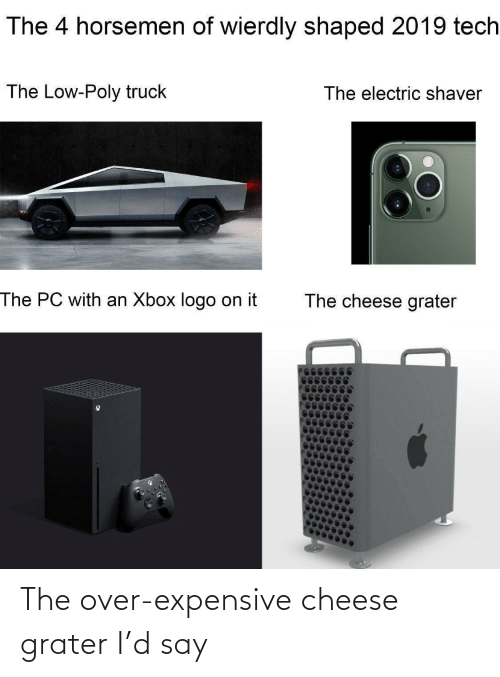logo: The 4 horsemen of wierdly shaped 2019 tech  The Low-Poly truck  The electric shaver  The PC with an Xbox logo on it  The cheese grater The over-expensive cheese grater I'd say