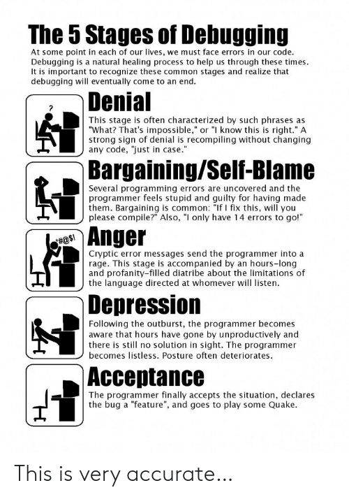 """rage: The 5 Stages of Debugging  At some point in each of our lives, we must face errors in our code.  Debugging is a natural healing process to help us th rough these times  It is important to recognize these common stages and realize that  debugging will eventually come to an end.  Denial  ?  This stage is often characterized by such phrases as  """"What? That's impossible,"""" or """"I know this is right."""" A  strong sign of denial is recompiling without changing  any code, just in case.""""  Bargaining/Self-Blame  Several programming errors are uncovered and the  programmer feels stupid and guilty for having made  them. Bargaining is common: """"If I fix this, will you  please compile?"""" Also, """"I only have 14 errors to go!""""  Anger  #@$!  Cryptic error messages send the programmer into a  rage. This stage is accompanied by an hours-long  and profanity-filled diatribe about the limitations of  the language directed at whomever will listen.  Depression  Following the outburst, the programmer becomes  aware that hours have gone by unproductively and  there is still no solution in sight. The programmer  becomes listless. Posture often deteriorates  Аcсeptance  The programmer finally accepts the situation, declares  the bug a """"feature"""", and goes to play some Quake This is very accurate…"""