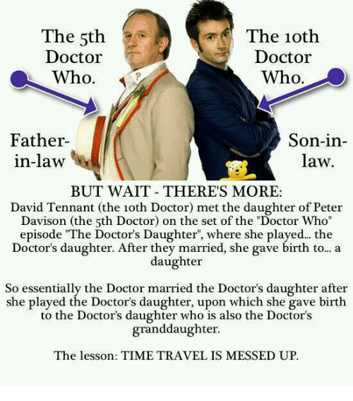 "father in law: The 5th  Doctor  Who.  The 1oth  Doctor  Who.  Father  in-law  Son-in-  law  BUT WAIT THERES MORE:  David Tennant (the 1oth Doctor) met the daughter of Peter  Davison (the 5th Doctor) on the set of the ""Doctor Who  episode ""The Doctor's Daughter, where she played... the  Doctor's daughter. After they married, she gave birth to... a  daughter  So essentially the Doctor married the Doctor's daughter after  she played the Doctor's daughter, upon which she gave birth  to the Doctor's daughter who is also the Doctor's  granddaughter  The lesson: TIME TRAVEL IS MESSED UP."