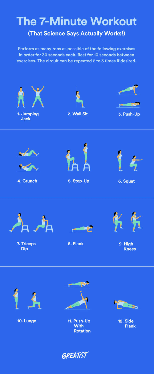 Science, The Following, and Squat: The 7-Minute Workou  (That Science Says Actually Works!)  Perform as many reps as possible of the following exercises  in order for 30 seconds each. Rest for 10 seconds between  exercises. The circuit can be repeated 2 to 3 times if desired.  1. Jumping  2. Wall Sit  3. Push-Up  Jack  4. Crunch  5. Step-Up  6. Squat  9. High  7. Triceps  Dip  8. Plank  Knees  10. Lunge  11. Push-Up  12. Side  With  Rotatiorn  Plank  GREATIST