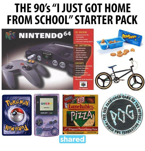 nintendo 64: THE 90's, II  JUST GOT HOME  FROM SCHOOL STARTER PACK  THE MACHINE  NINTENDO 64  unsurpassed  we same running speed  THE COHIROItEB  3D controller  degree game  CONTENTS  Nintendo  Aerial Switch Bon  GMEB  chables.  PIZZA  3 Pepperoni Plaored Savsag Pizzas  shared