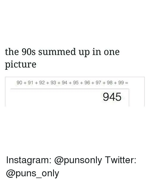 Instagram, Puns, and Twitter: the 90s summed up in one  picture  90 91 92 93 94 95 96 97 98 99  945 Instagram: @punsonly Twitter: @puns_only