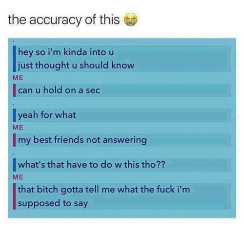 Bitch, Friends, and Memes: the accuracy of this  hey so i'm kinda into u  just thought u should know  ME   can u hold on a sec  yeah for what  ME  my best friends not answering  what's that have to do w this tho??  ME  that bitch gotta tell me what the fuck i'm  supposed to say