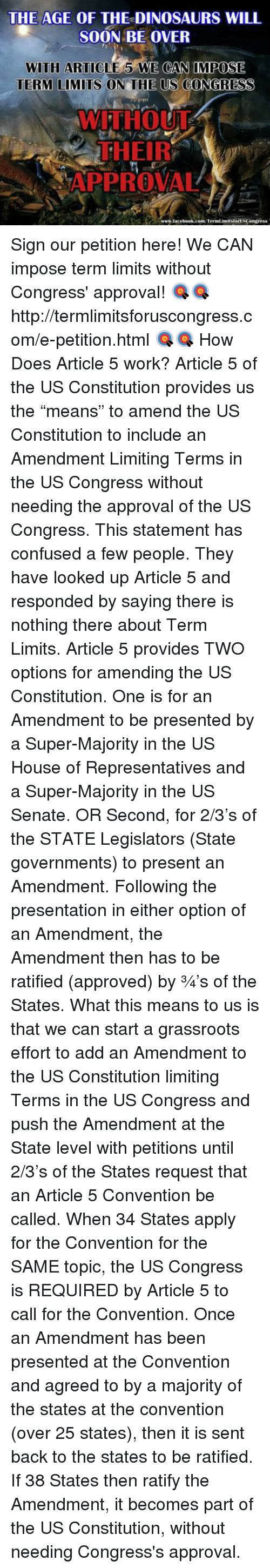 us government should have term limits for legislators (the decision didn't affect term limits for state legislatures, and there are 15 states that impose them) the court said that for term limits to be constitutional, we'd have to amend the .