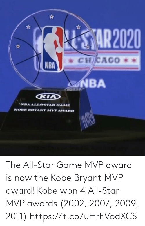 All Star: The All-Star Game MVP award is now the Kobe Bryant MVP award!   Kobe won 4 All-Star MVP awards (2002, 2007, 2009, 2011) https://t.co/uHrEVodXCS