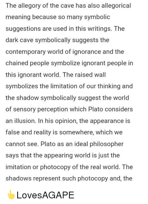 a comparison of the people in the cave from platos allegory of the cave (if you do you not know the allegory of the cave by plato then please modern to to compare to the cave as an allegory in comparison, most people are.