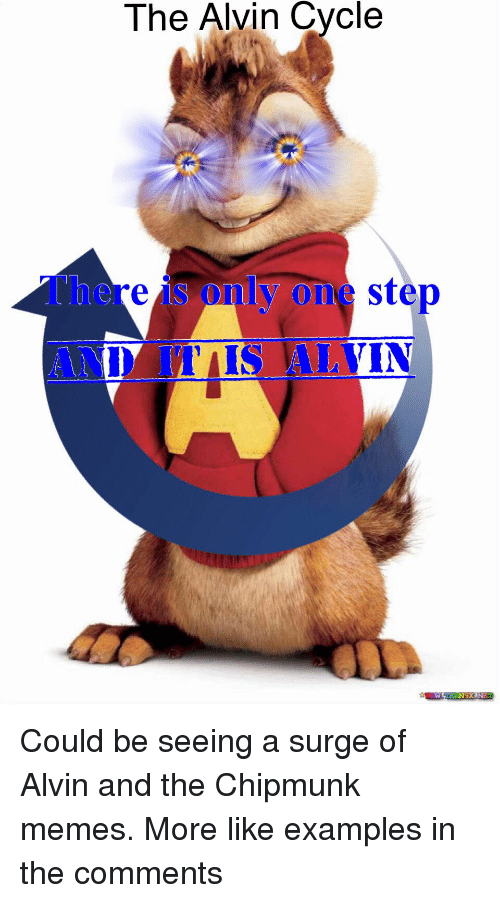Memes, Alvin and the Chipmunks, and Step: The Alvin Cycle  only step  re  MIS ALVIN Could be seeing a surge of Alvin and the Chipmunk memes. More like examples in the comments
