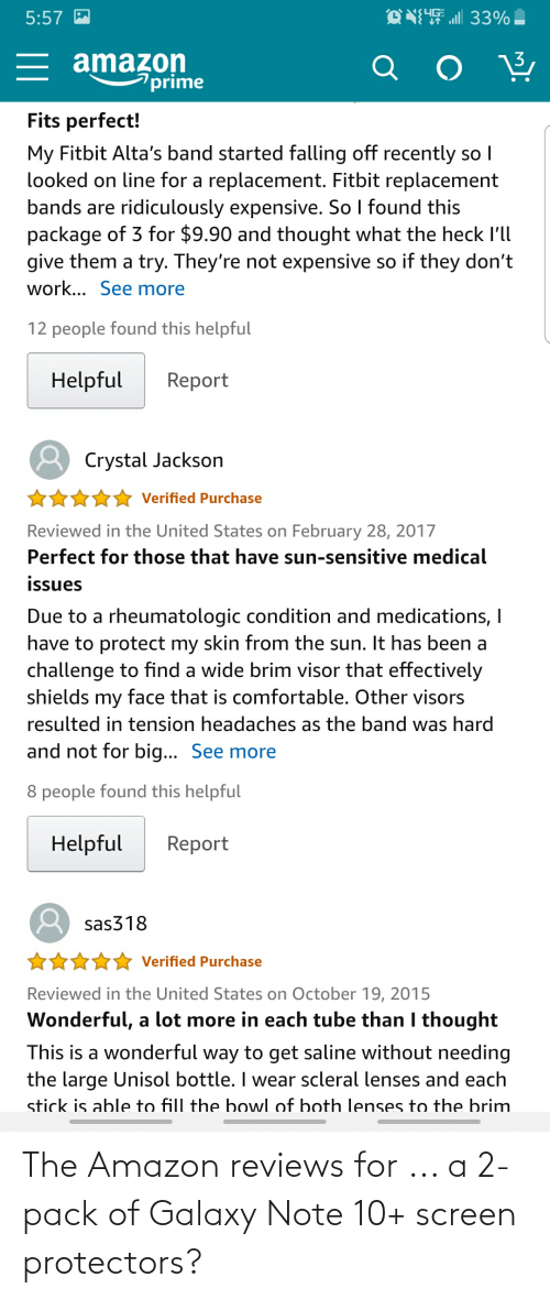 Galaxy Note: The Amazon reviews for ... a 2-pack of Galaxy Note 10+ screen protectors?