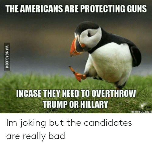Trump Or Hillary: THE AMERICANS ARE PROTECTING GUNS  NCASE THEY NEED TO OVERTHROW  TRUMP OR HILLARY Im joking but the candidates are really bad